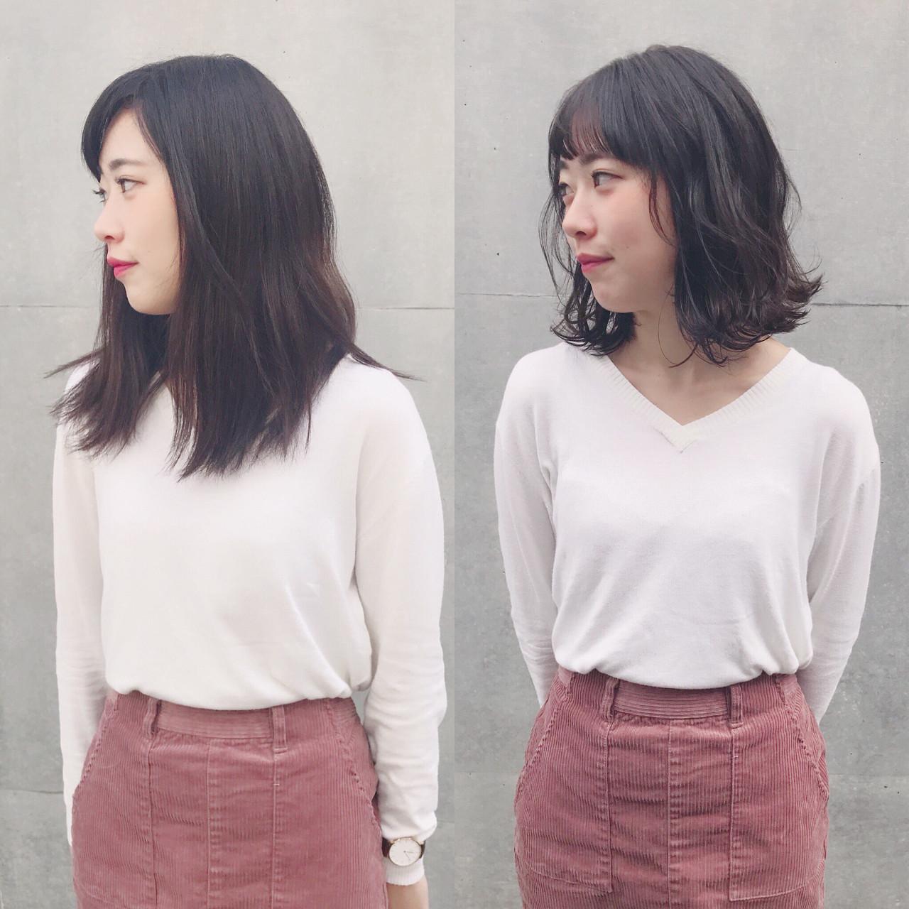 前髪パッツン ナチュラル 外ハネ ウェットヘア ヘアスタイルや髪型の写真・画像 | Wataru Maeda / cache cache