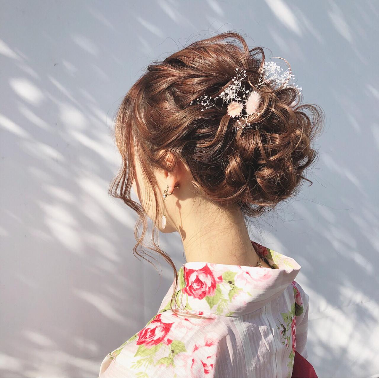 花火大会 大人かわいい 夏 セミロング ヘアスタイルや髪型の写真・画像   hii.de@✂︎ / Maison de sisi