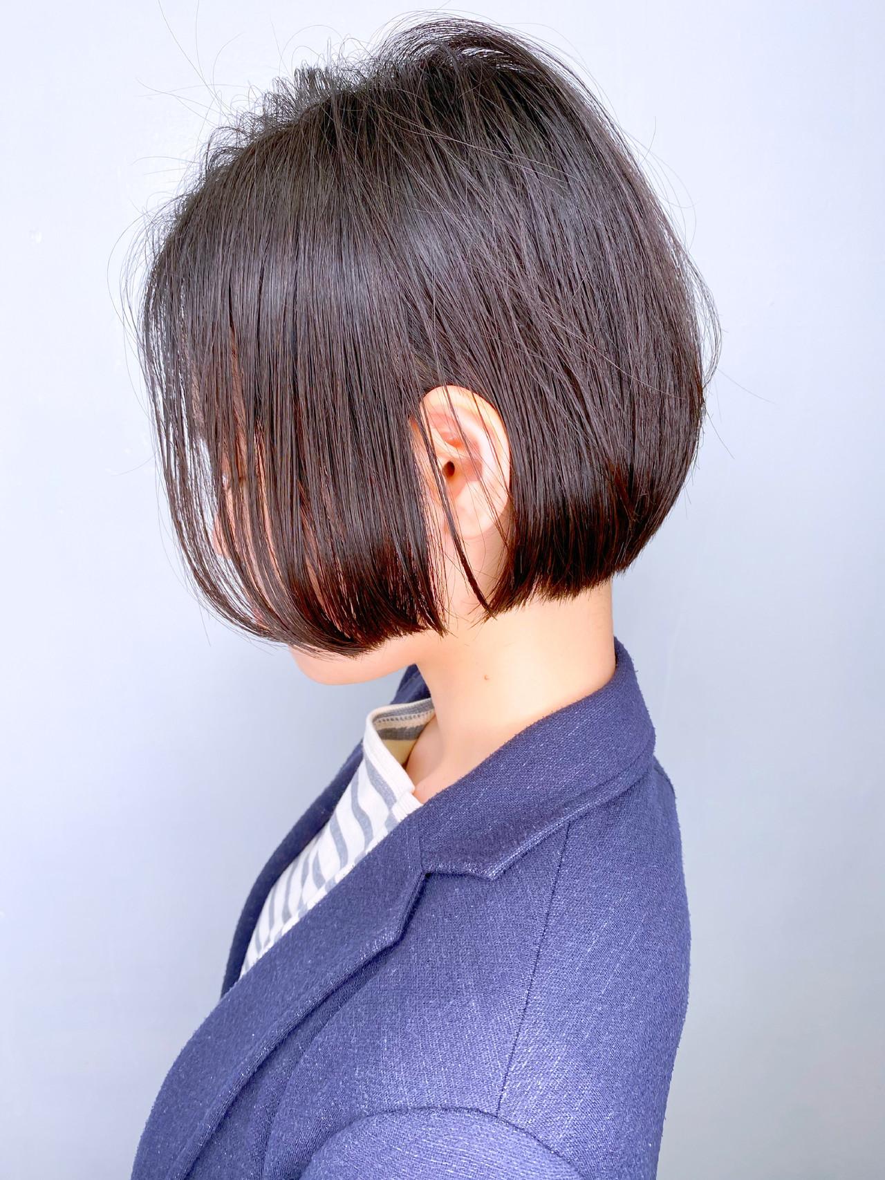簡単スタイリング 大人かわいい ミニボブ 耳かけ ヘアスタイルや髪型の写真・画像 | 日平 海 / モリオフロムロンドン 池袋店