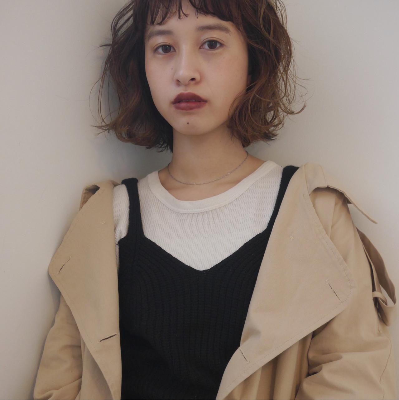 外国人風 外ハネボブ ナチュラル 切りっぱなしボブ ヘアスタイルや髪型の写真・画像 | 井浦果歩 / ecouter