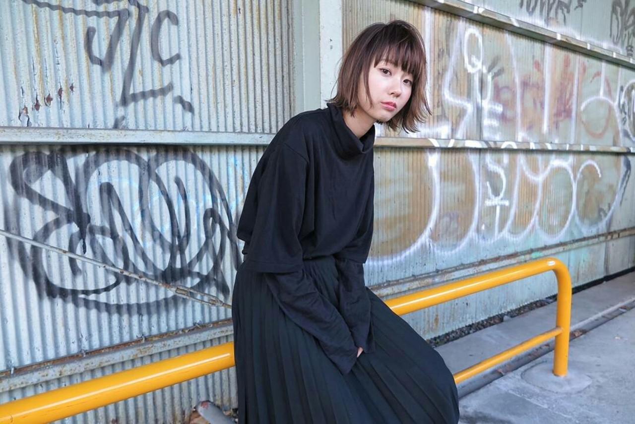 モード ボブ 外ハネ ストリート ヘアスタイルや髪型の写真・画像 | 杉本侑菜 (すぎもと ありな) /
