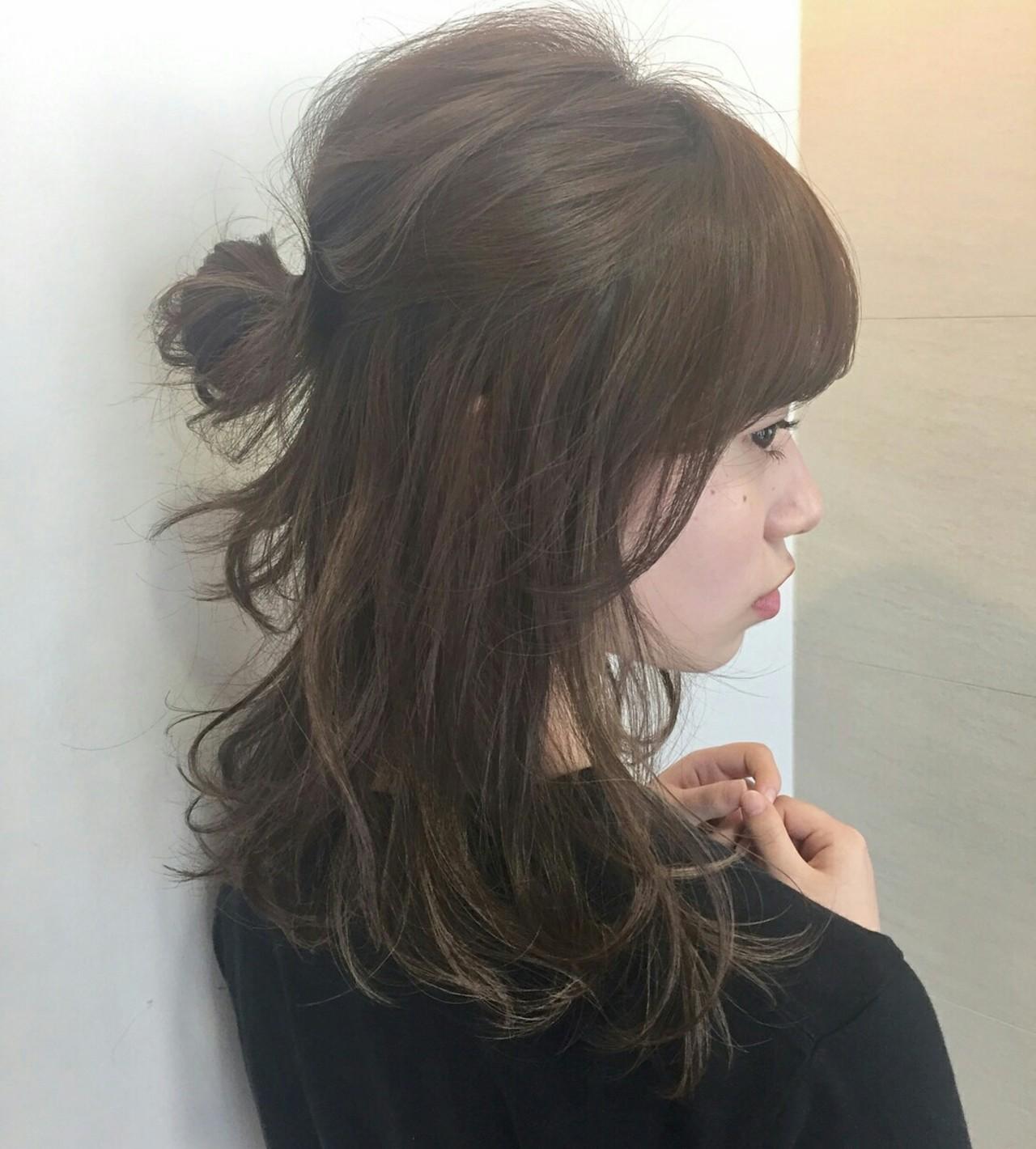 ナチュラル ハーフアップ ショート 簡単ヘアアレンジ ヘアスタイルや髪型の写真・画像 | 新谷 千絢 / Ramie