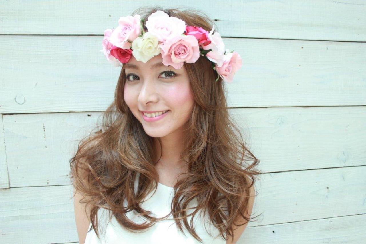 結婚式 かわいい ヘアアレンジ ロング ヘアスタイルや髪型の写真・画像 | erina maeda / smile