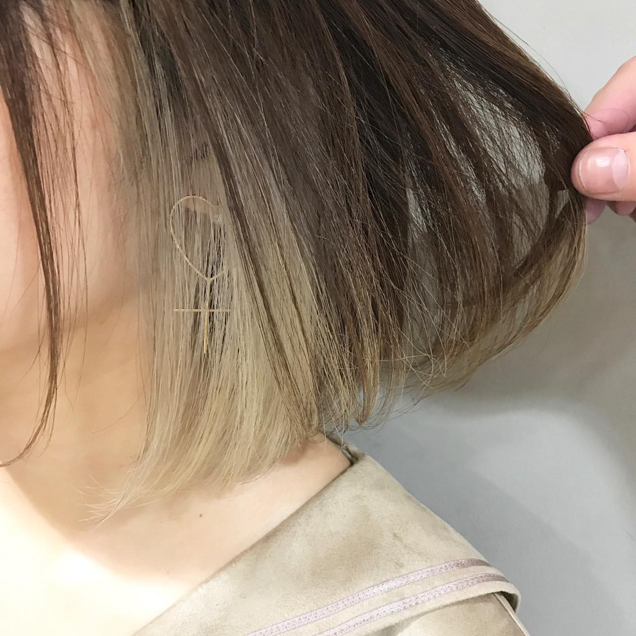 ナチュラル ワンレングス ワンカール インナーカラー ヘアスタイルや髪型の写真・画像 | MORNING.miya/@1031miya / HAIR MORNING.