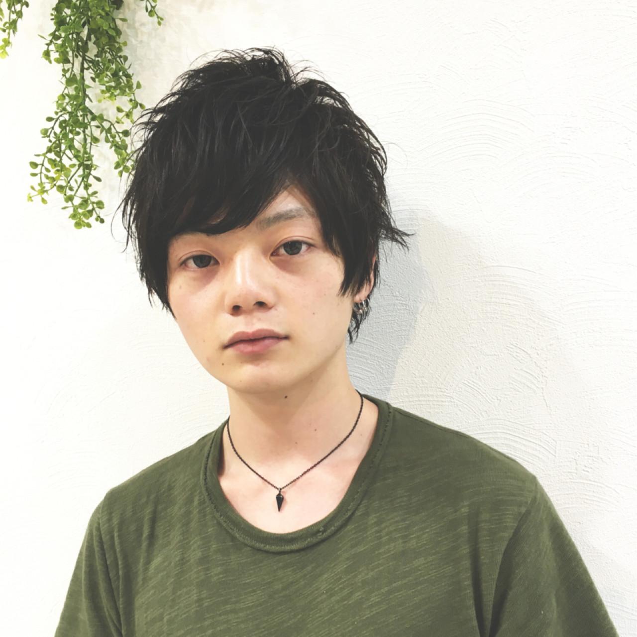 パーマ アッシュ 暗髪 ショート ヘアスタイルや髪型の写真・画像 | SAKURA 村上 ゆうすけ / Lifesalon SAKURA