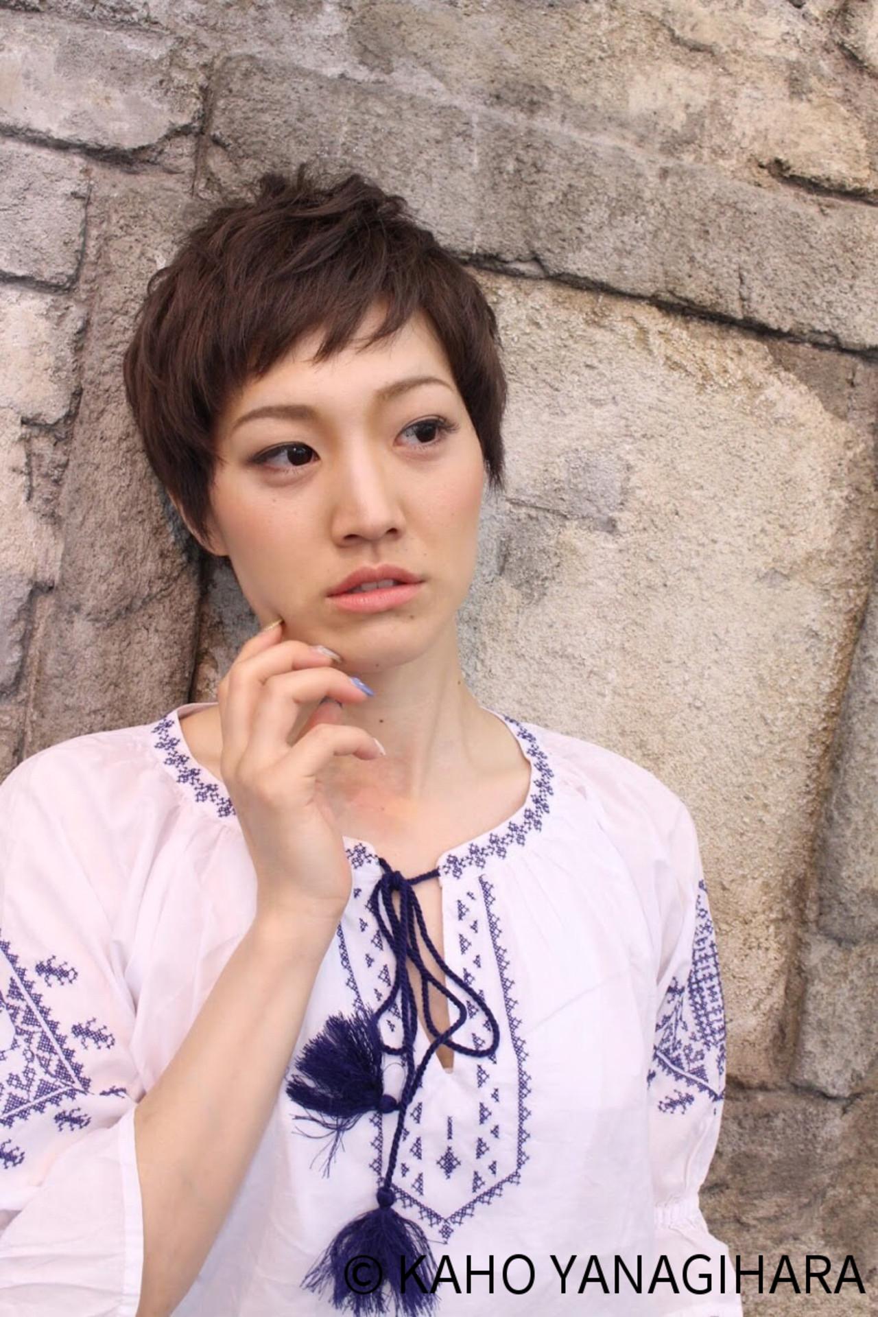 ベリーショート デート こなれ感 ショート ヘアスタイルや髪型の写真・画像 | KAHO YANAGIHARA /