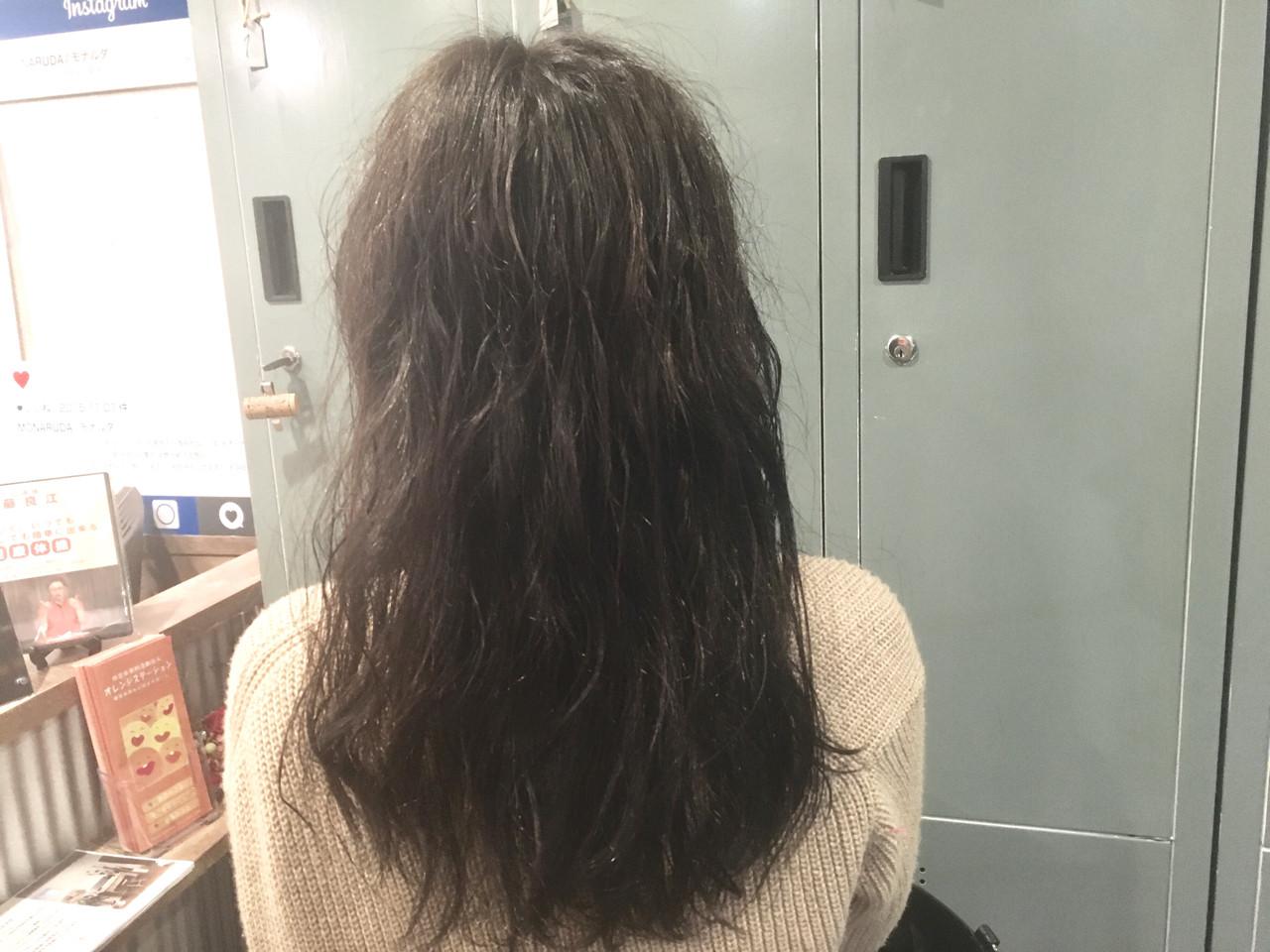 外国人風カラー ウェットヘア 外国人風 ウェーブヘアスタイルや髪型の写真・画像