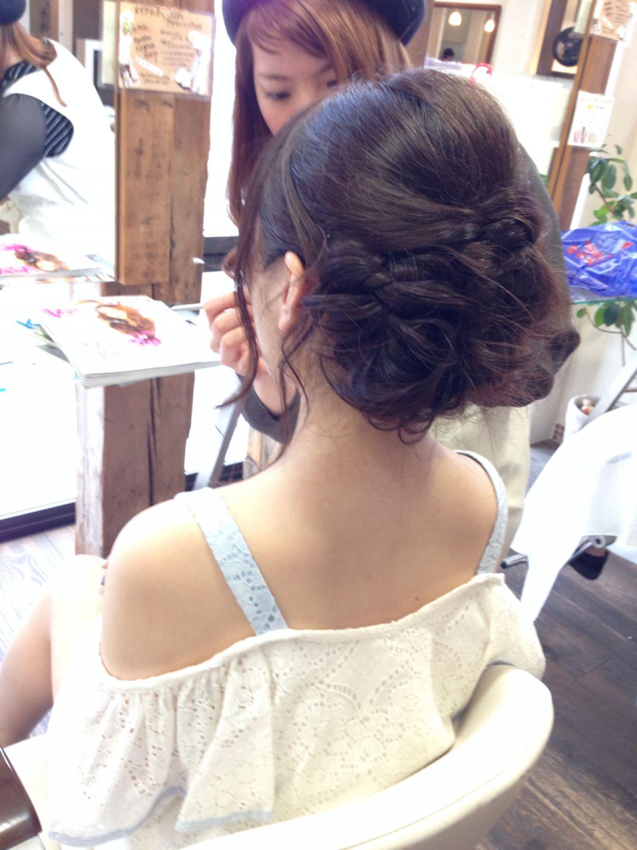 コンサバ 編み込み フェミニン ヘアアレンジ ヘアスタイルや髪型の写真・画像 | 兼山 七星 / SHRIMP